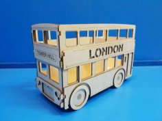 Laser Cut Double Decker London Bus Pencil Holder DXF File