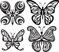 Butterfly Tattoo Silhouettes Free Vector