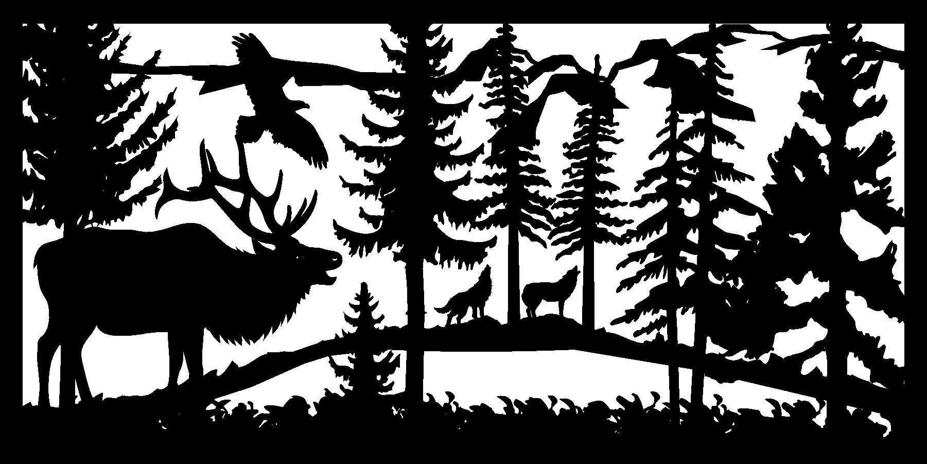 30 X 60 Elk Eagle Wolves Plasma Metal Art DXF File