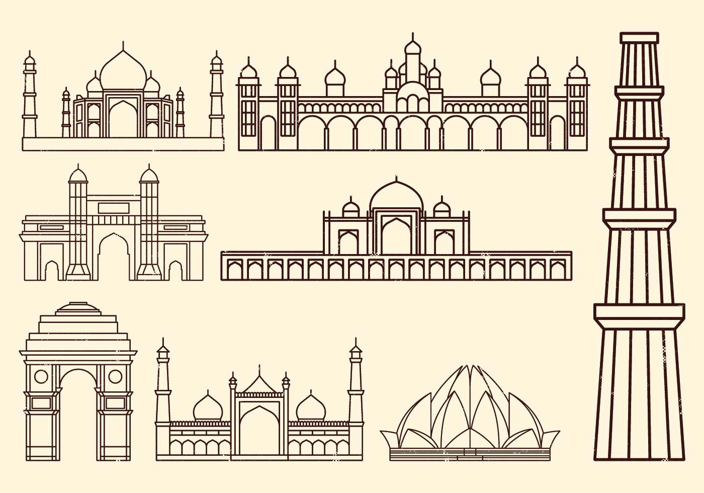 India Landmarks Free Vector