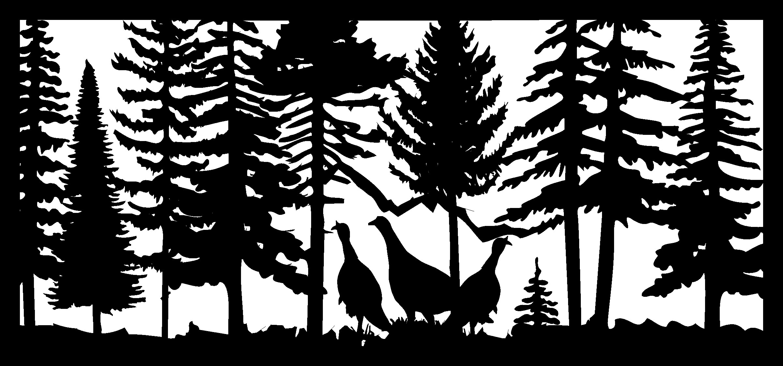 28 X 60 Three Turkeys Plasma Art DXF File