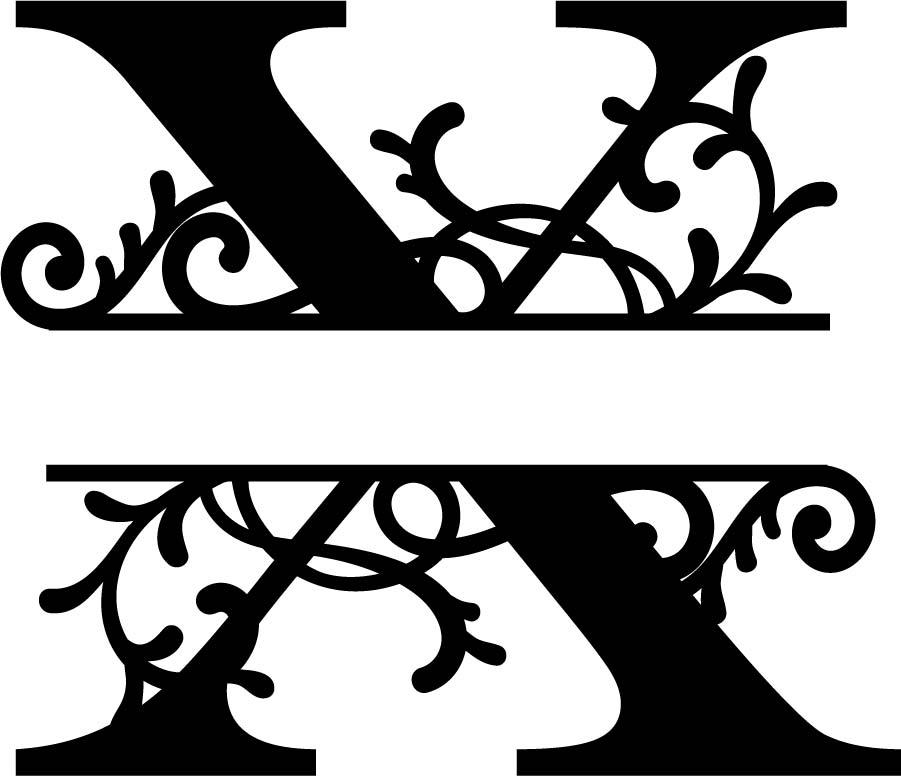 Flourished Split Monogram X Letter Free Vector