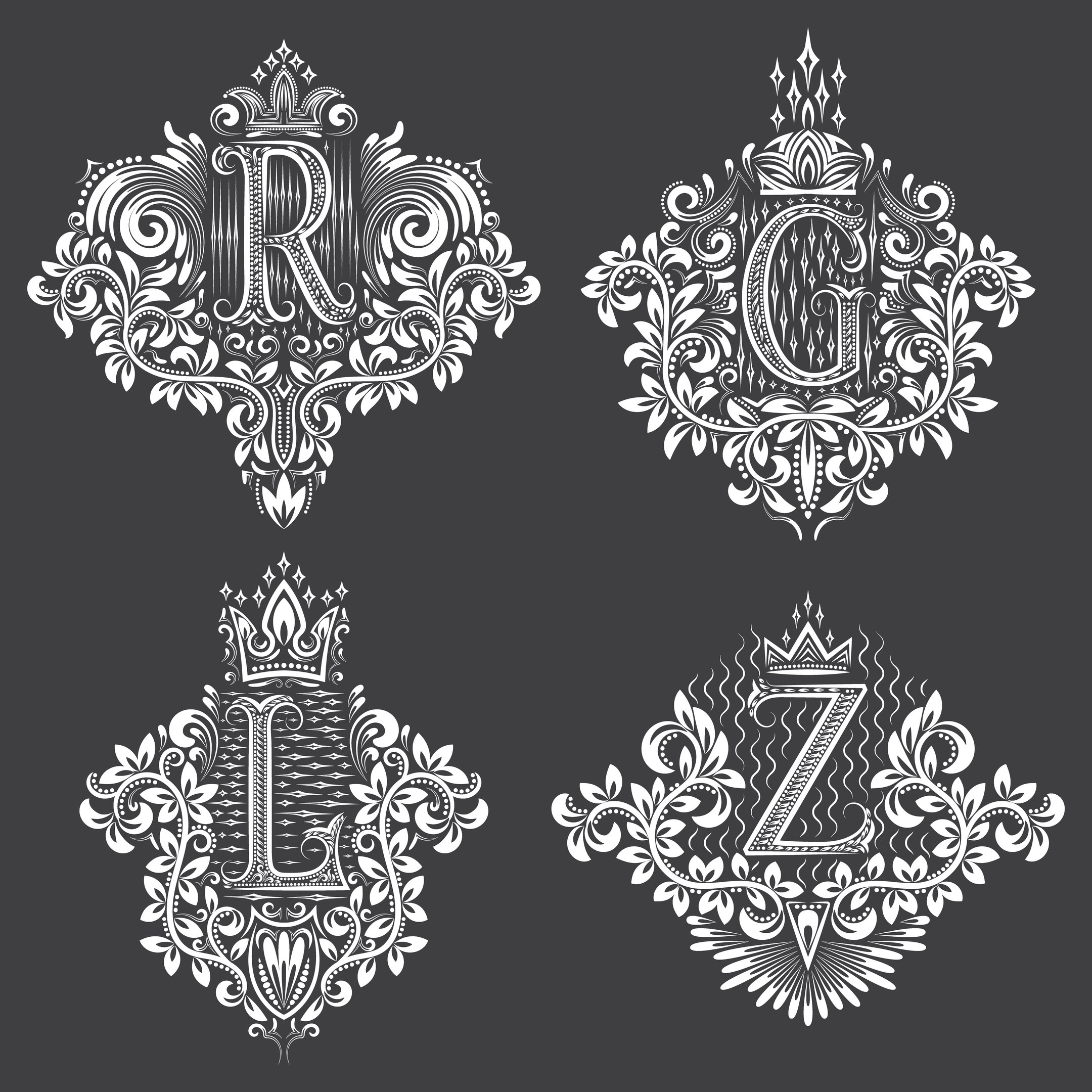 Decorative Letter Set Free Vector