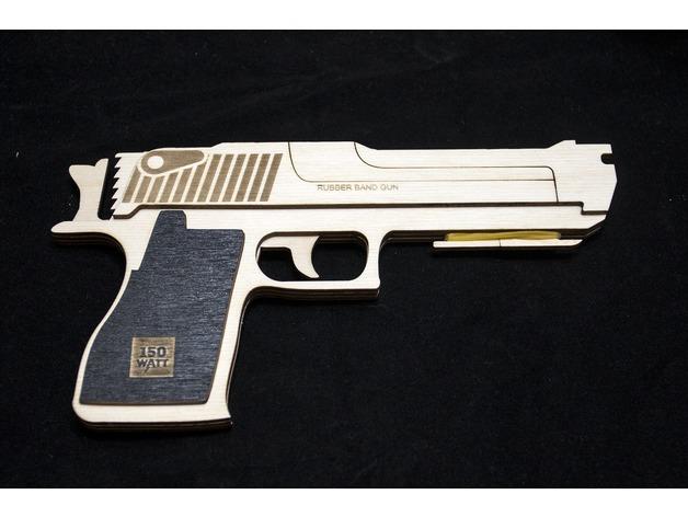 Rubber Band Gun Laser Cut DXF File