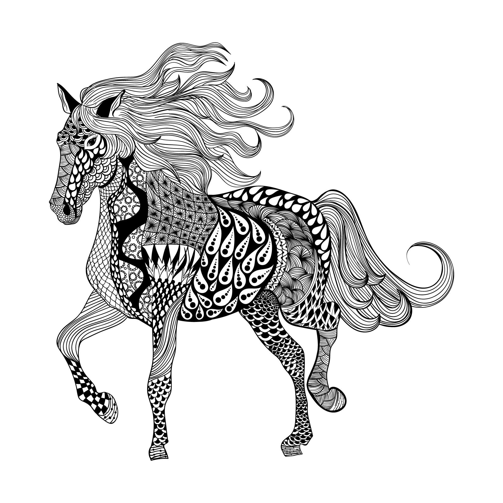 Zentangle Horse Free Vector
