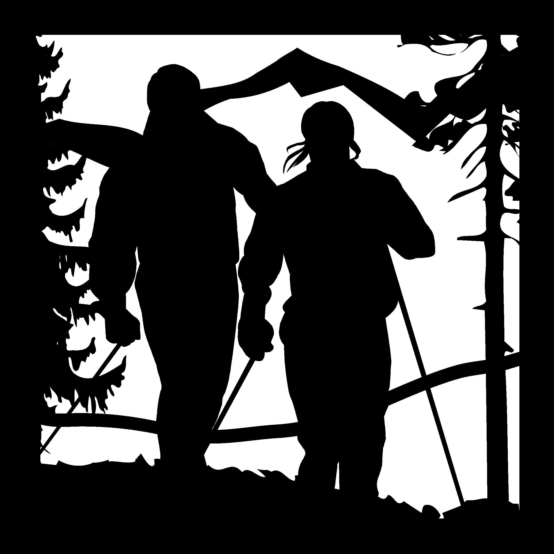 24 X 24 Snow Skiers Mountains Plasma Metal Art DXF File