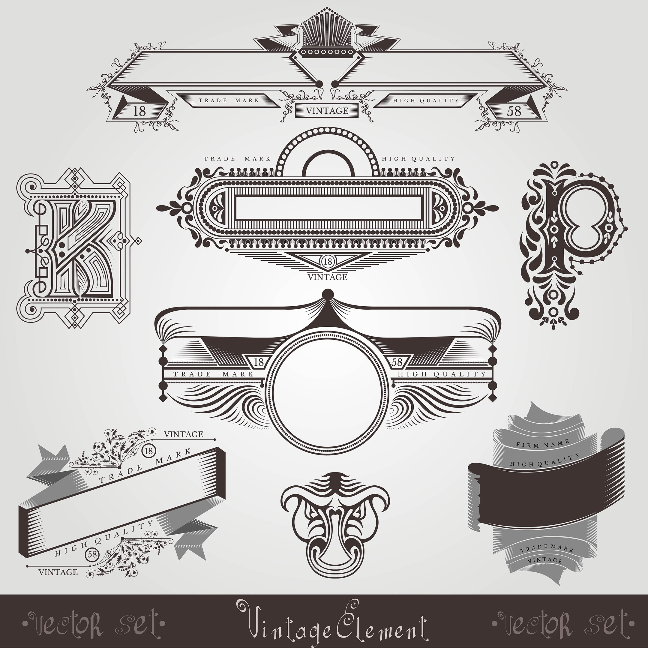 Vintage Engraving Banners With Different Letter And Pattern Free Vector