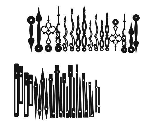 Laser Cut Decorative Clock Hands Templates Free Vector