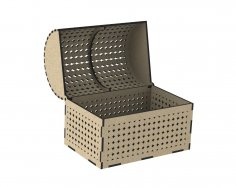 Laser Cut Wooden Chest With Decorative Lid DXF File