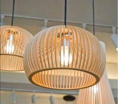 Laser Cut Wood Pendant Light Chandelier Lamp DXF File