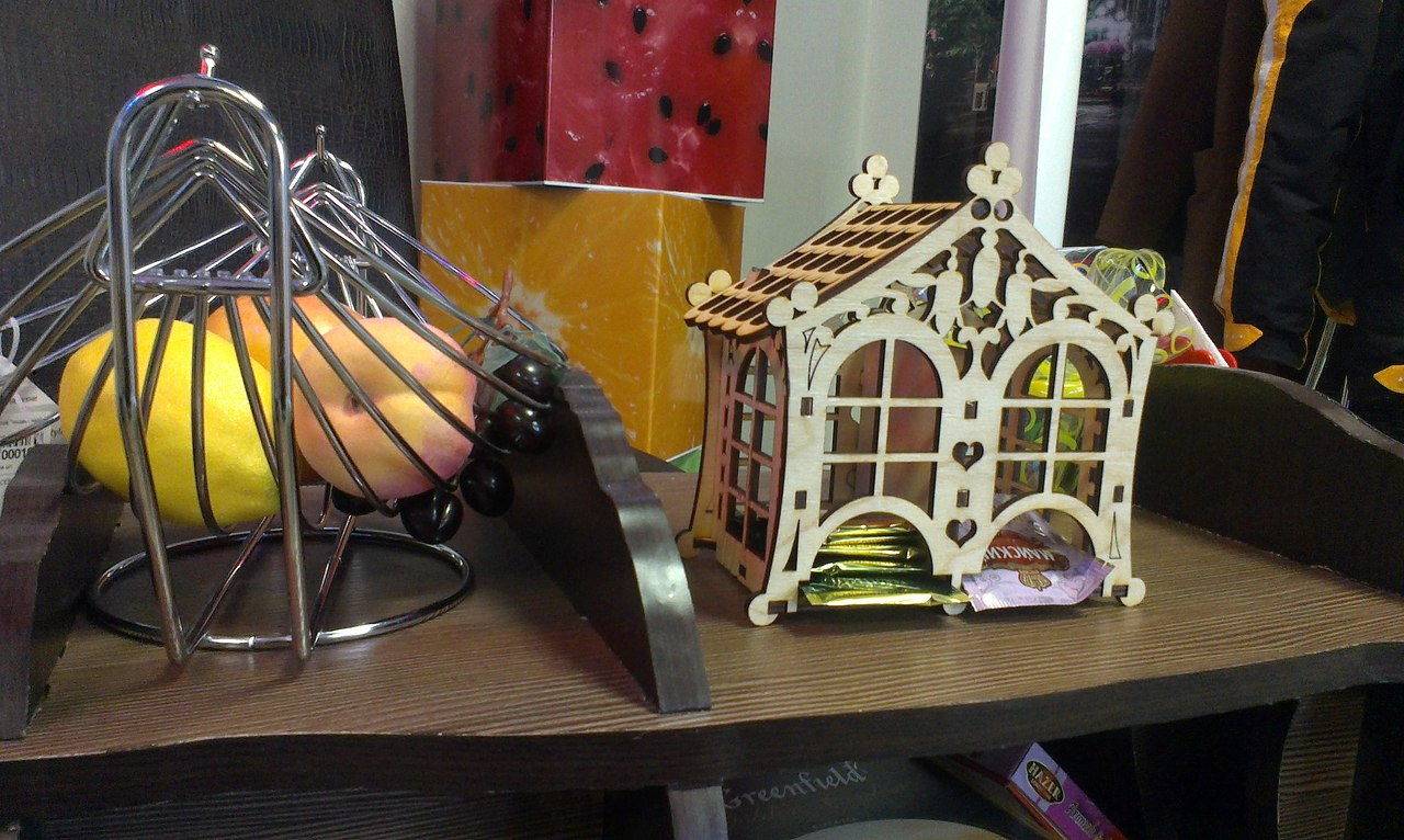 Laser Cut Wooden Tea House Tea Bags Holder Free Vector