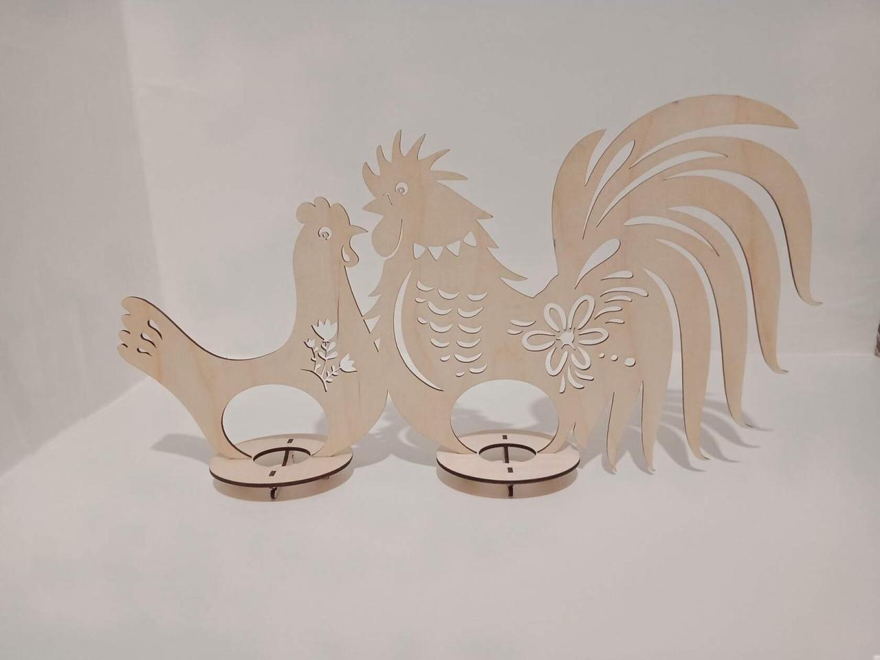 Wooden Hen Rooster Easter Egg Holder Laser Cutting Template Free Vector