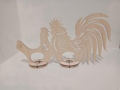Wooden Hen Rooster Easter Egg Holder Laser Cutting Template Free Vector