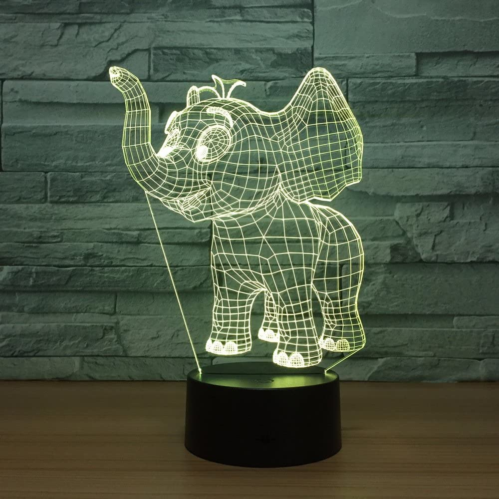 Laser Cut Baby Elephant 3D Night Light Desk Lamp 3D Optical Illusion Lamp DXF File