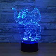 Laser Cut Baby Elephant 3D Night Light Desk Lamp 3D Optical Illusion Lamp DXF File
