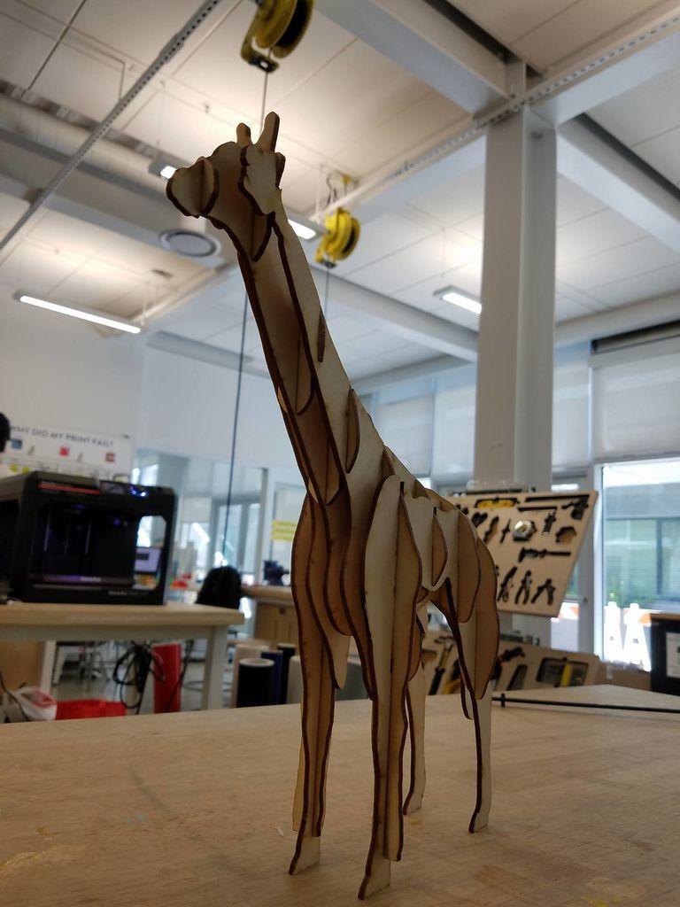 Laser Cut Giraffe 3D Model Template Free Vector