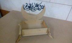 Laser Cut Ramadan Box مبارك عليكم الشهر Free Vector