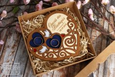 Laser Cut Heart Shaped Engagement Ring Box Wedding Proposal Ring Box Free Vector