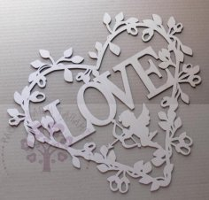 Laser Cut Decorative Heart Love With Cupid Free Vector