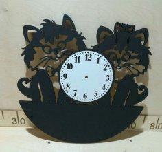 Laser Cut Cute Cats Wall Clock Free Vector