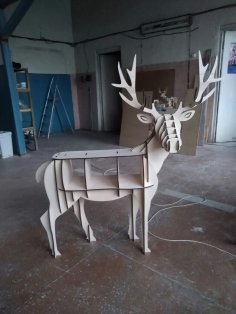 Wooden Deer Table Storage Book Shelf Furniture Laser Cut Template Free Vector