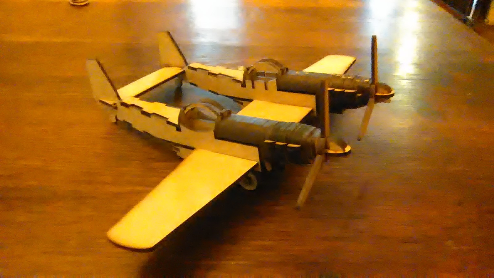 Laser Cut Wooden Twin Mustang Double Propeller Plane Template DXF File