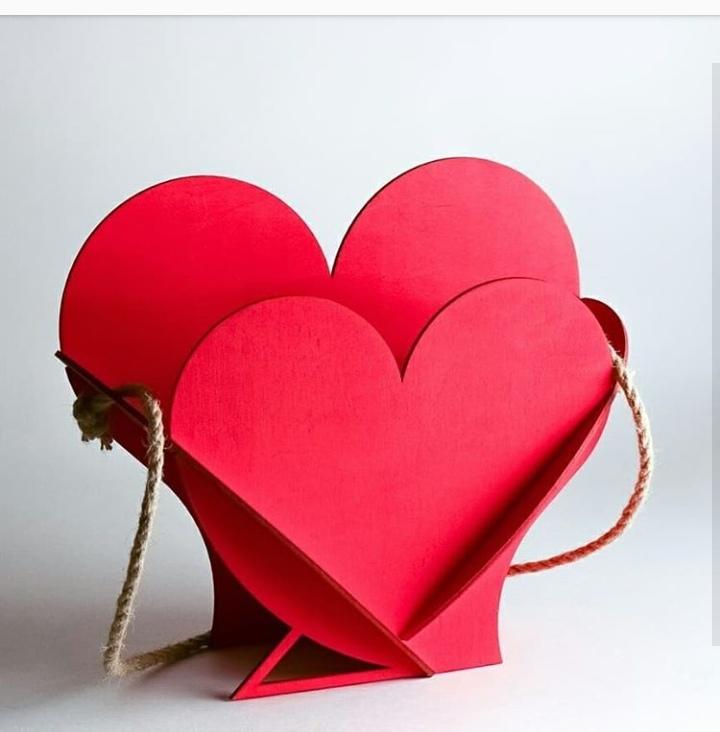 Laser Cut Valentine Day Gift Heart Shape Basket Free Vector