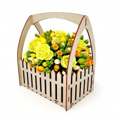 Laser Cut Wooden Fence Flower Basket Free Vector