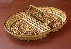 Laser Cut Decorative Plate Basket with Handle Free Vector