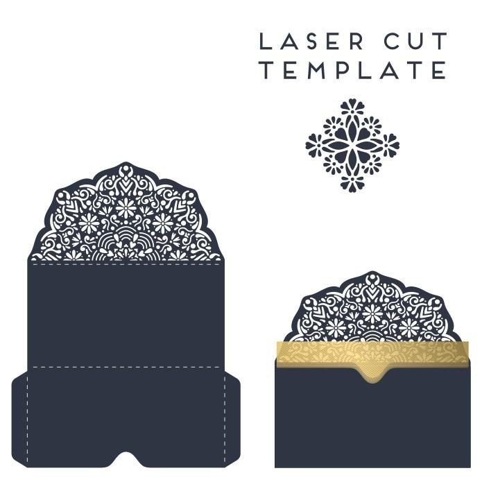 Laser Cut Decorative Wedding Invitation Template Free Vector