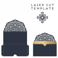 Laser Cut Decorative Wedding Invitation Template Free Vector