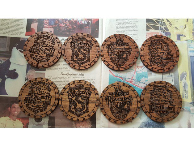 Laser Cut Harry Potter Cup Holders Coasters Free Vector