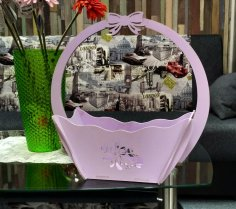 Decorative Flower Candy Basket With Handle Laser Cut Free Vector