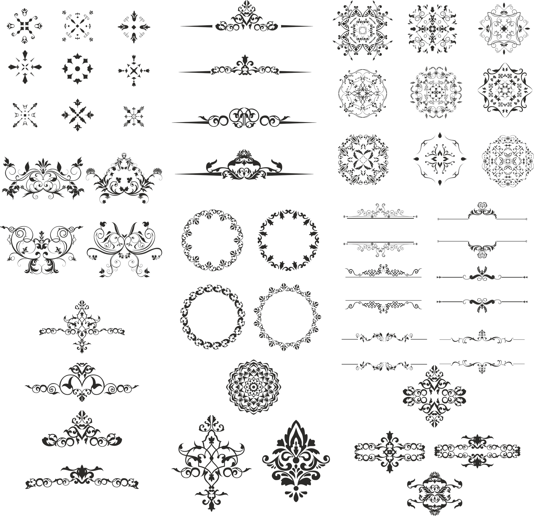 Ornamental Elements Design Kit Free Vector