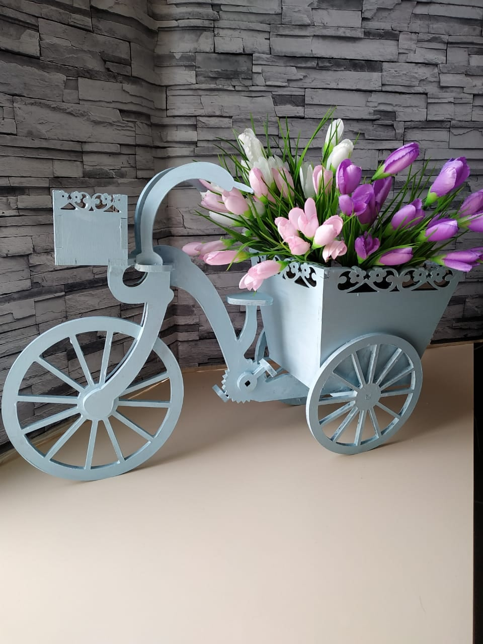 Laser Cut Tricycle Flower Basket Free Vector