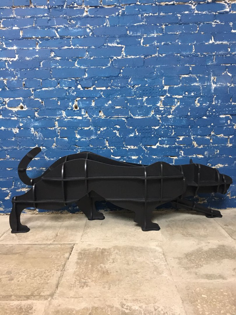 Laser Cut Puma Panther Cheetah Shelf Animal Bookshelf Panel Furniture Free Vector