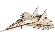 Laser Cut Wooden Fighter SU-30 Model Toy Free Vector