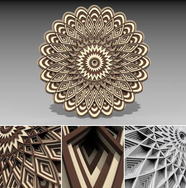 Laser Cut 3D Layered Mandala Free Vector