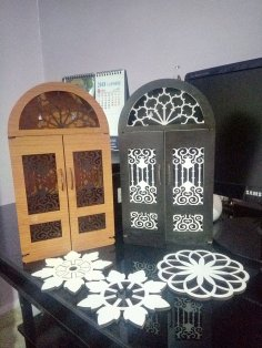 Laser Cut Door Key Box Wooden Key Cabinet Wall Mounted Key Holder Box DXF File