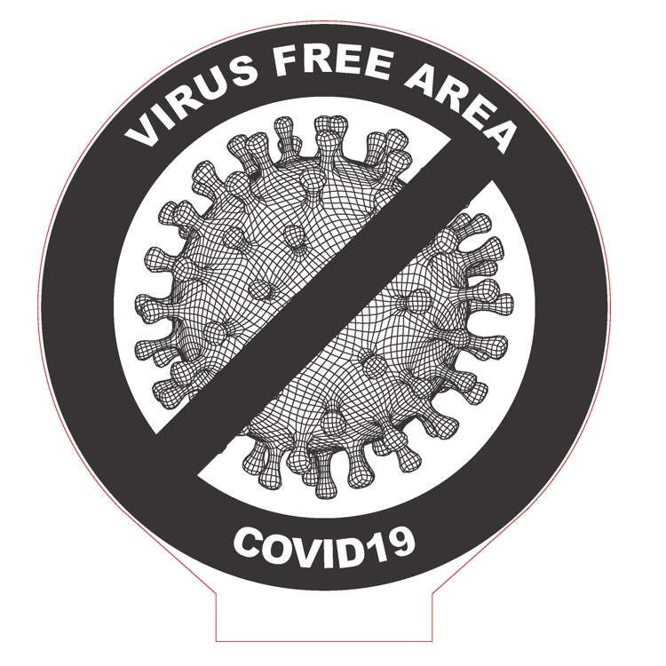 Laser Cut COVID19 Virus Free Area Acrylic Lamp Free Vector