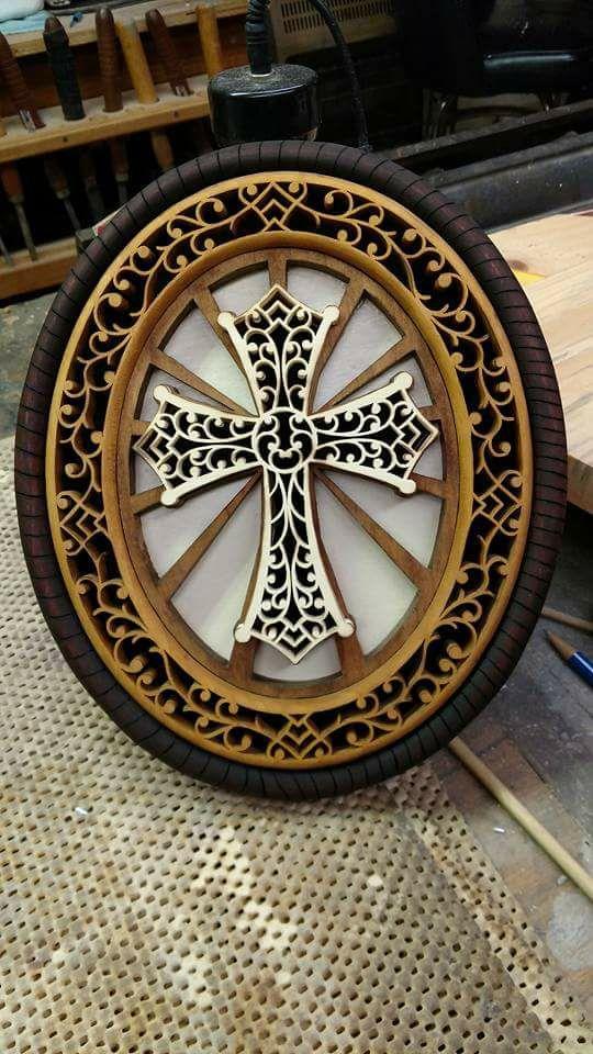 Laser Cut Wooden Decorative Cross Free Vector