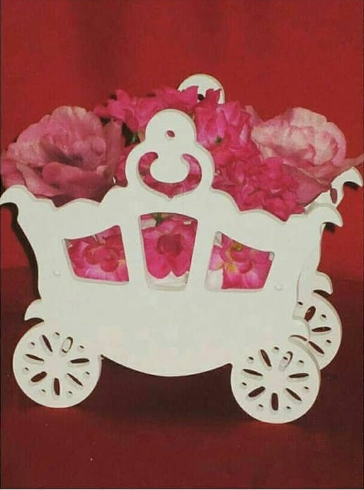 Laser Cut Flower Carriage Free Vector
