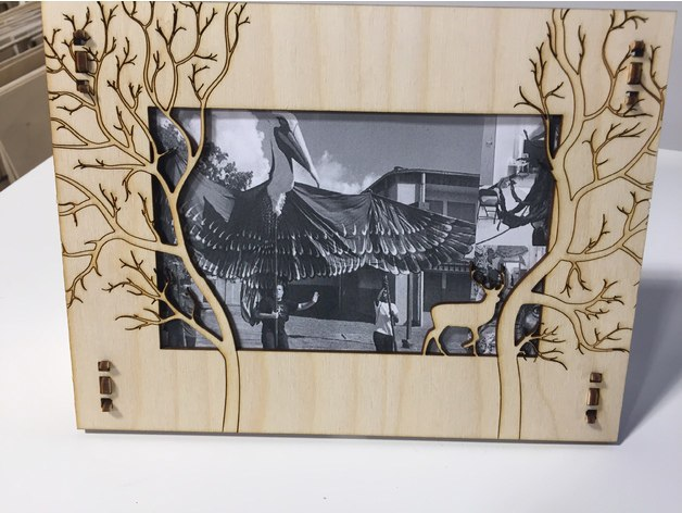Laser Cut Deer Photo Frame Template Free Vector
