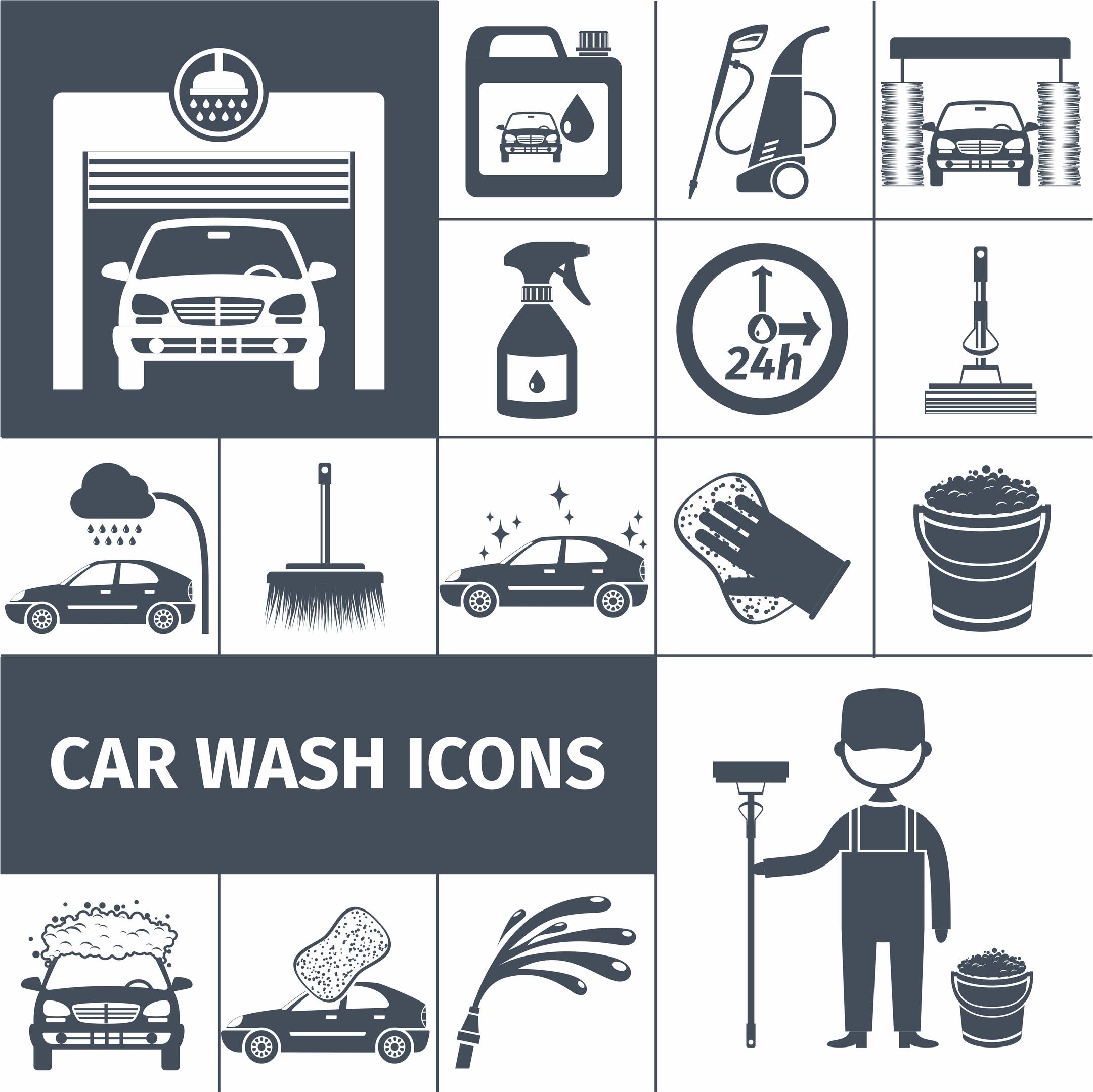 Car Wash Icons Free Vector