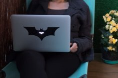 Laser Cut Laptop Sticker Bat 20×8 8cm DXF File