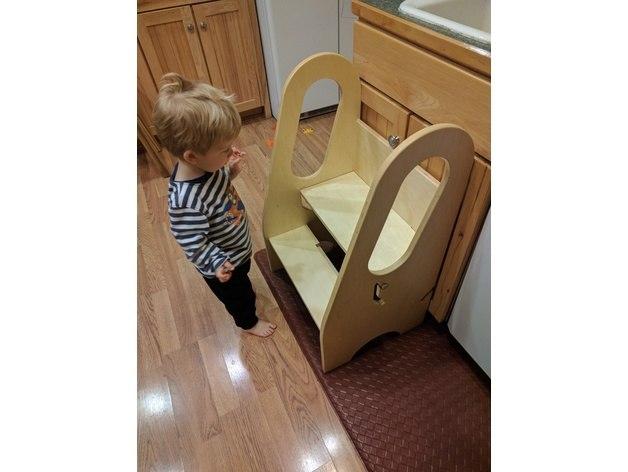 Laser Cut Kid Step Stool, Step Up Kitchen Helper Free Vector
