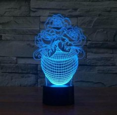 Rose In A Vase 3D Illusion Lamp Led Night Lights PDF File