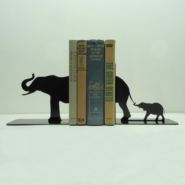 Laser Cut Elephant Family Book Holder Free Vector
