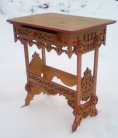 Laser Cut Table with Drawer Free Vector