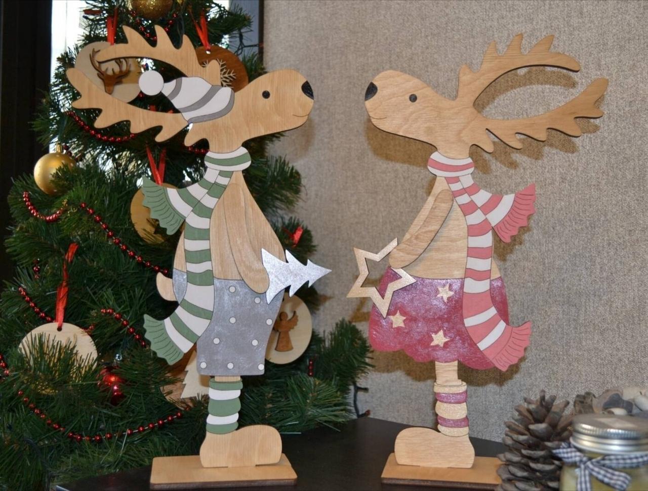 Laser Cut Wooden Deer Christmas Ornaments Free Vector